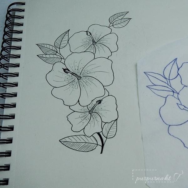 Zeichnung des Motivs für das Blumenshirt